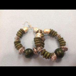 Tribal style Metal & Wood Earrings-Moss Green